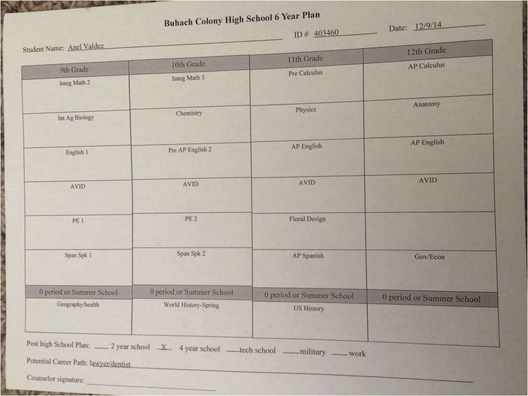 Transcript And Six Year Plan