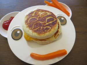 Grilled cheese with kids using pillsbury dough
