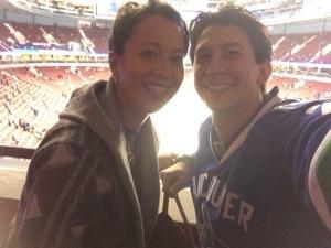 at the hockey game