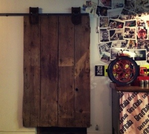 barn door from Musette Caffe in Vancouver