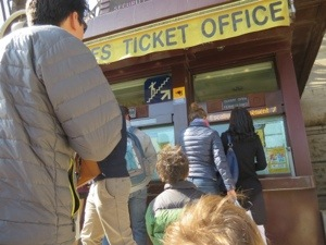 ticket office for walking up the eiffel tower
