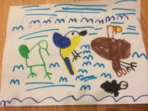 kid drawing eagle