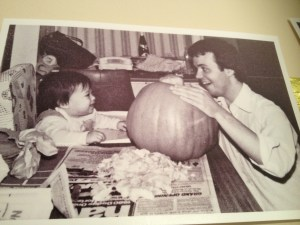 carving pumpkins with my dad
