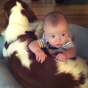 baby and his dog