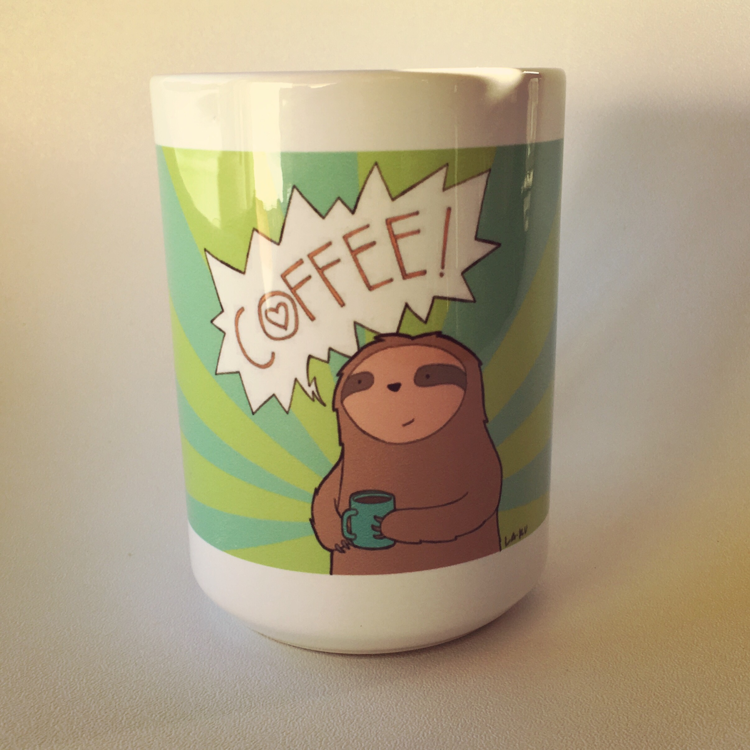 Sloth mug from Ugly Baby and La Ru in Seattle