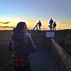 beautiful sunset and family walking the dyke in steveston