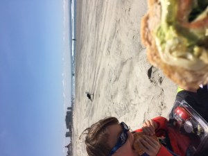 Eating a picnic on Coronado Beach