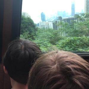 Riding the funicular to Victoria peak