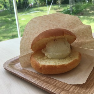 Bread ice cream sandwich in Hakone japan