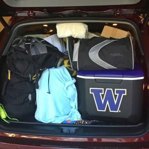 Back of Toyota Highlander all filled up