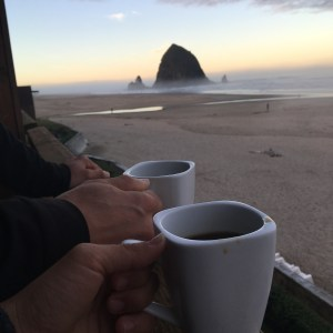 Coffee on our balcony in Cannon Beach
