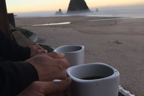 Coffee on our balcony in Cannon Beach at the Surfsand Resort one of the Cannon Beach hotels that overlooks Haystack Rock