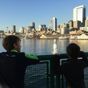 Views riding the Bremerton ferry with kids in Seattle