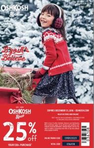 Osh Kosh coupon good until Dec 31 2016
