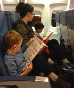 Family travel airplane from Sea-Tac airport with kids
