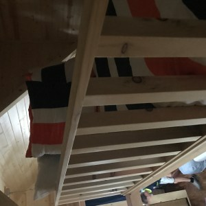 Sleeping loft in Otto in the Tiny Home Village in Leavenworth