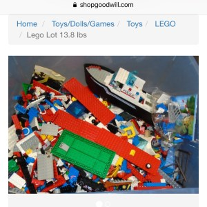 Example of Lego you can buy on ShopGoodwill site