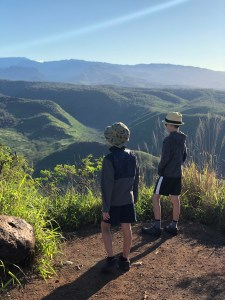 View at Waimea Canyon on Kauai from a scenic Viewpoint using Moon Guides on our trip with kids to Kauai in Feburary