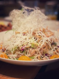 You can use the Happy Lady Happy Card at Cheesecake Factory-this is the Chinese Chicken Salad
