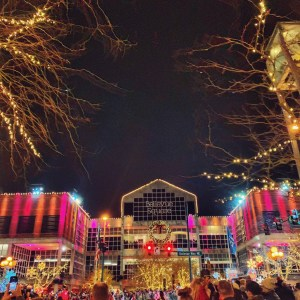 holiday lights and snow at Snowflake Lane at the Bellevue Collection