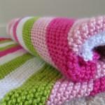 Diagonal Stripes Baby Blanket Handmade Over Coffee