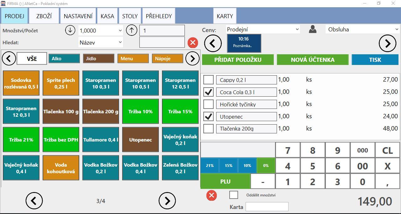 ANETCA - EET Pokladní systém