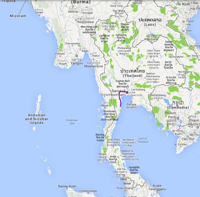 Fra Bangkok til Hua Hin, zoomet ud, så man kan se hele Thailand.