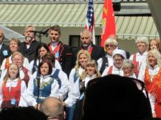 Fresco, a Norwegian choir from Eidsvoll, sings the Norwegian national anthem.