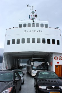 Our ferry from Kaupanger to Gudvangen. Note the tour bus, which later had to be reoriented to angle more sharply across the width of the boat in order to balance the load.