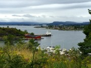 """I'm looking across to Heggholmen (""""Birdcherry Islet"""") on the left and Langøyen (""""Long Island"""") on the right. Heggholmen is connected to Gressholmen (""""Grass Islet"""") and Rambergøya so that they all look like one larger island."""