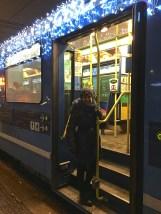 On Sundays, musicians dressed as Nisse (Christmas elves) lead sing-alongs for passengers on the Trikk.