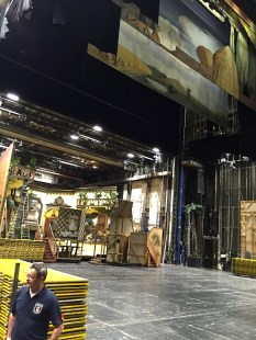 The tour backstage revealed the enormous resources it takes to put on an Opera. Stagehands work around the clock to set up and break down scenery, since different operas are performed each night to allow the singers to rest their voices. Enormous warehouses around town house stage sets brought to and fro by trucks each day. The stage floor is pockmarked with trap doors through which parts of the set are raised and lowered via elevators that access a many-leveled basement.