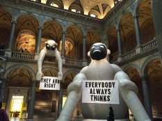 """The interior of the museum is gorgeous, with Pompeian-style friezes and ceiling frescos. Here, two pieces by Stephan Sagmeister from his exhibition """"The Happy Show"""" bring a bit of whimsy to the main lobby."""
