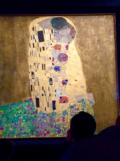 """No photos were allowed in the exhibition, but I did manage to snap a shot of Klimt's """"The Kiss"""" in an adjacent gallery."""
