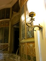The interior finishes of an Art Nouveau building.