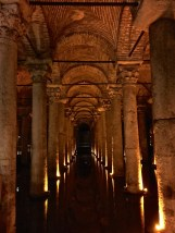 Emperor Justinian of Hagia Sophia fame also built this giant underground reservoir in the 6th Century A.D. He recycled stone parts from old Roman ruins to support the Romanesque-vaulted ceiling with 336 columns.
