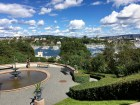 From the garden of Oscarshall, you can get a good view of one of the many nearby marinas along Frognerstranda. It's said that the king's sons selected this spot for his summer palace while they were out sailing.