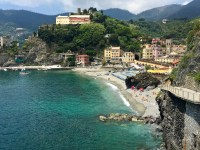 "Monterosso is the most ""resort-y"" of all the Cinque Terre towns, and it has a sandy beach instead of rocks, for a change of pace. You'll have to pay for the beach chairs and umbrellas, but it's worth it for a seaside view and easy access into the water."