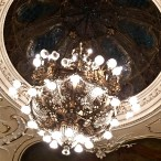 Check out the gorgeous ceiling and chandelier of the hall where the Hungarian Folk Ensemble performs.