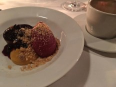 Fabulous currant sorbet with vanilla cream and chocolate ganache finished off the meal.