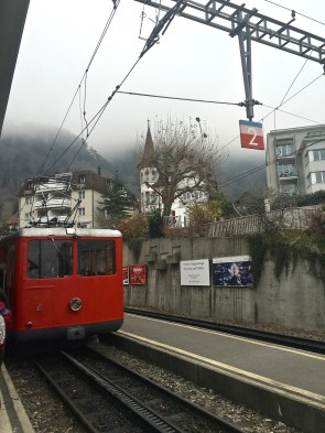 Look closely, and you'll see the rack-rail running underneath the center of the train. Although the train is powered via overhead electric wires, a cogged wheel in the center of the car has little teeth that fit into the rack-rail's notches and help it ratchet its way up the steep slope.