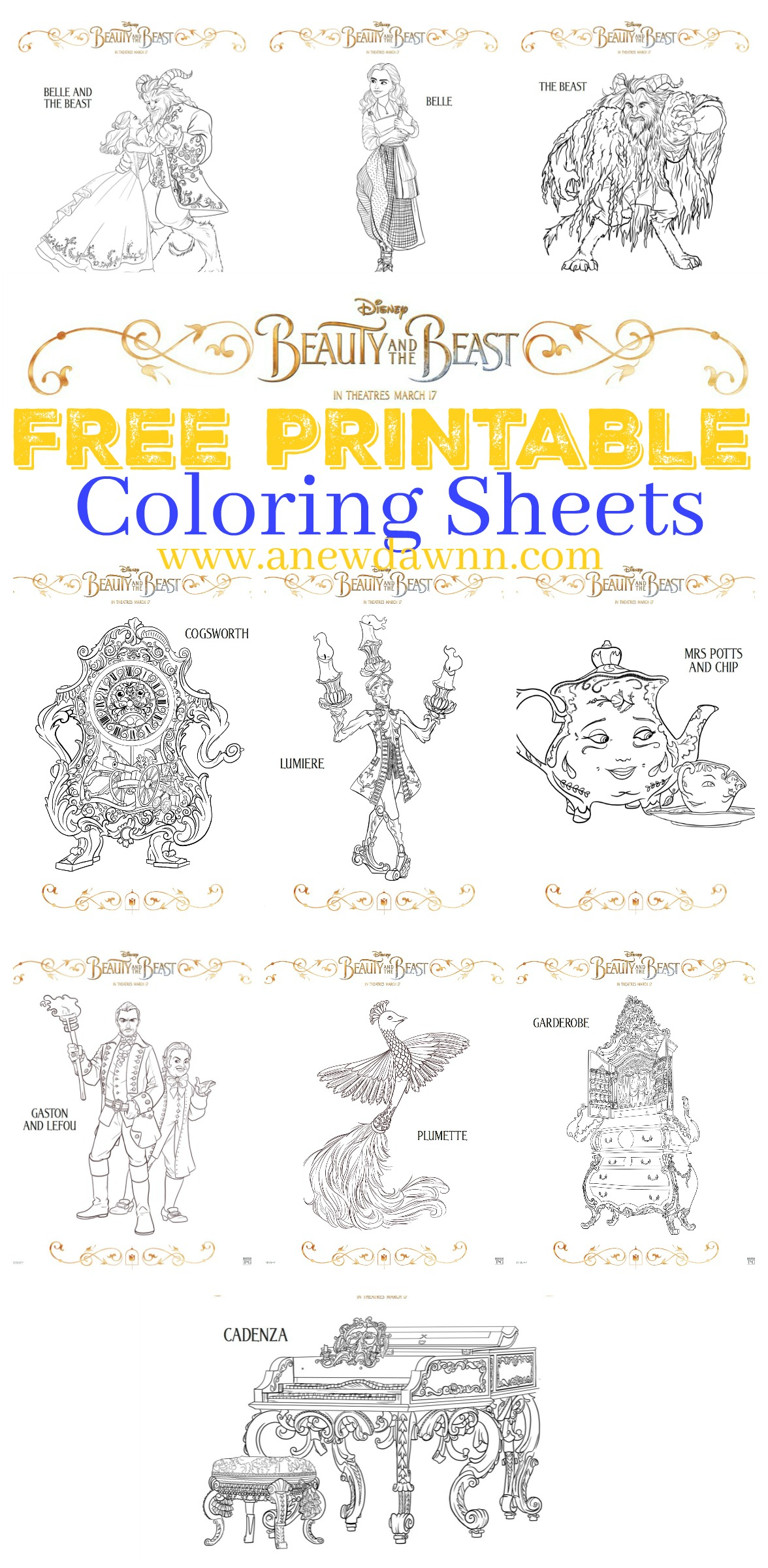 Beauty and the Beast Free Printables