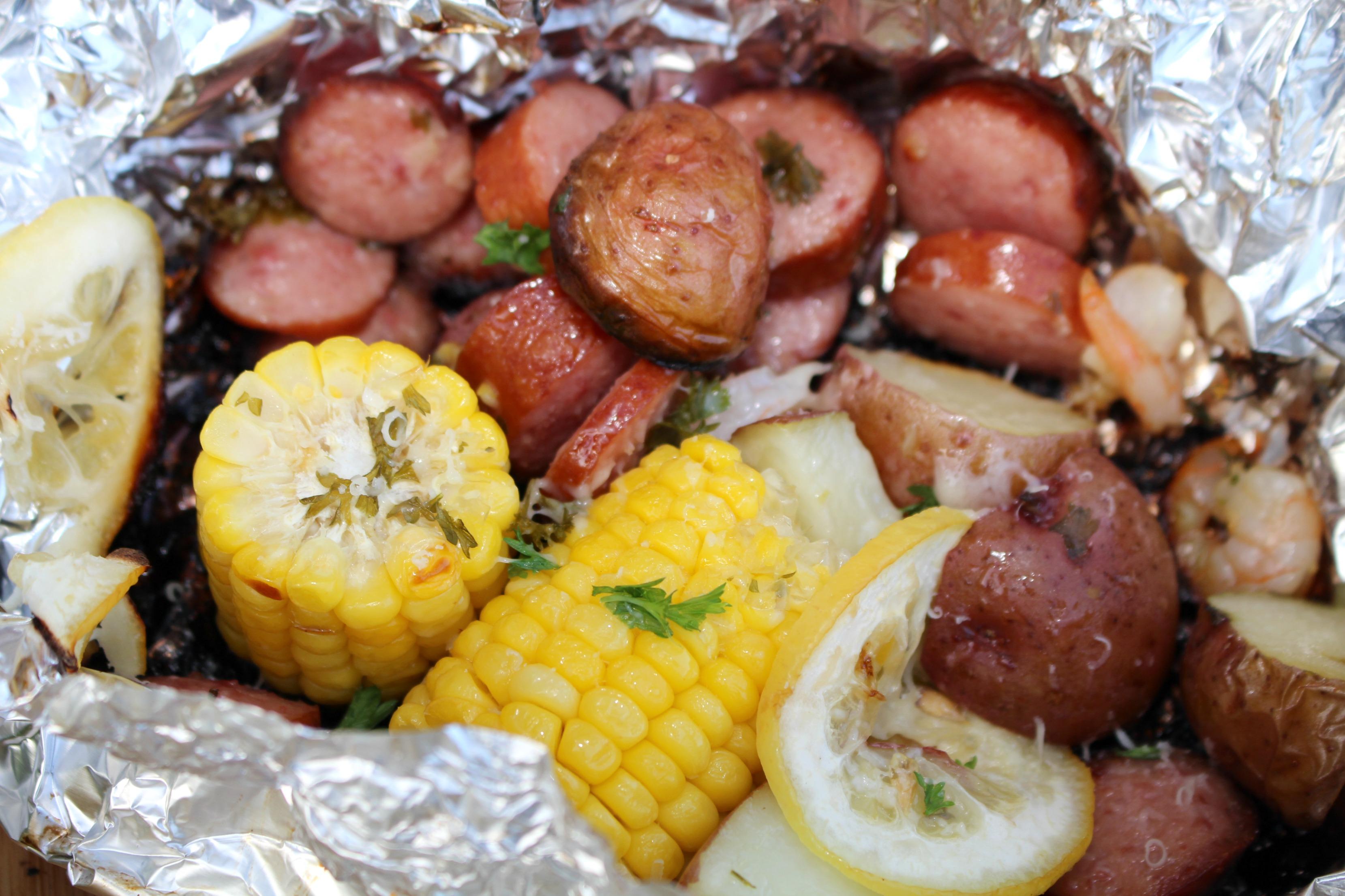 Grilled Shrimp & Smoked Sausage Foil Packs