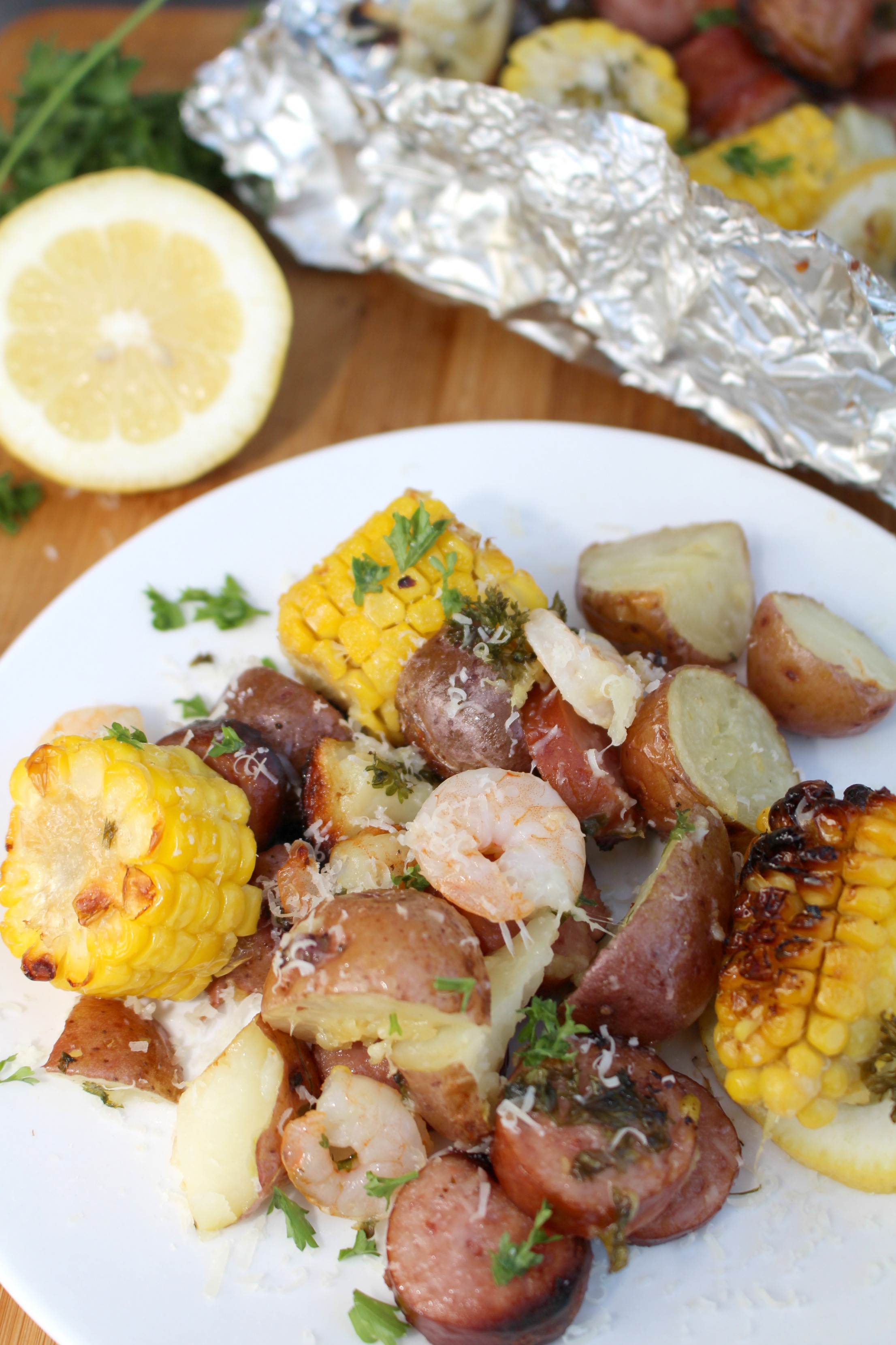 Grilled Shrimp & Smoked Sausage Foil Packs