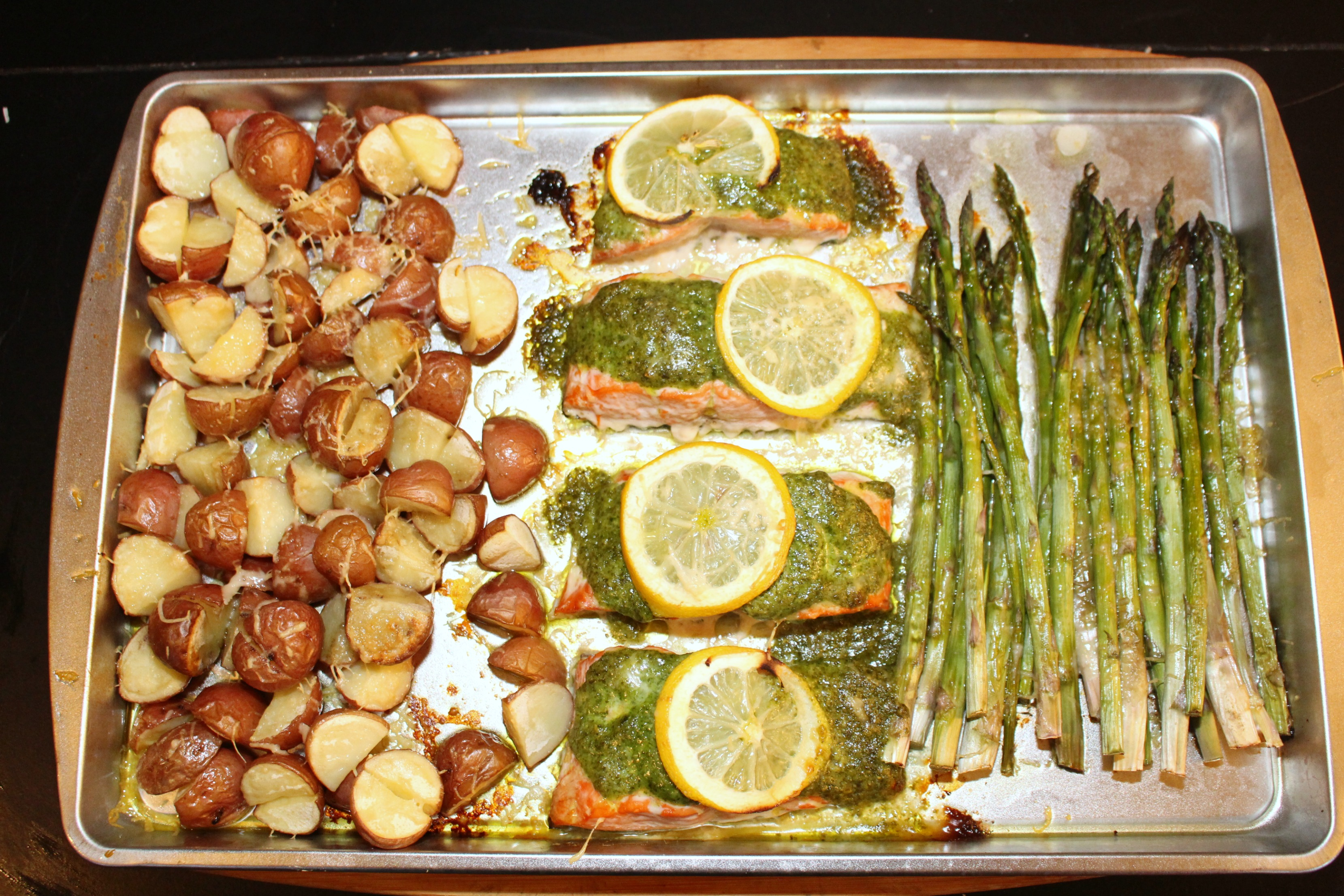 Pesto Salmon with Parmesan Roasted Potatoes