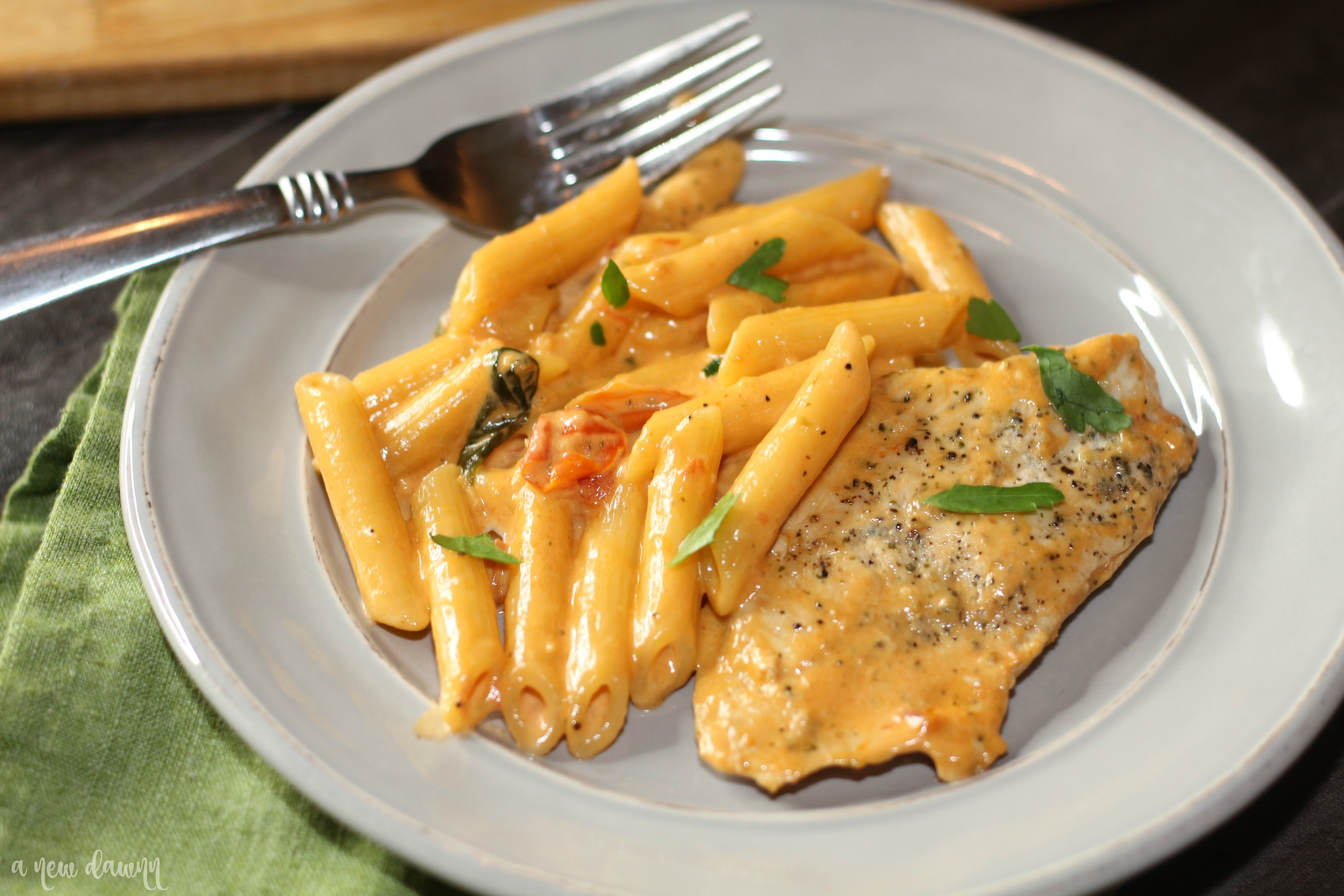 Creamy Tuscan Garlic Chicken Pasta