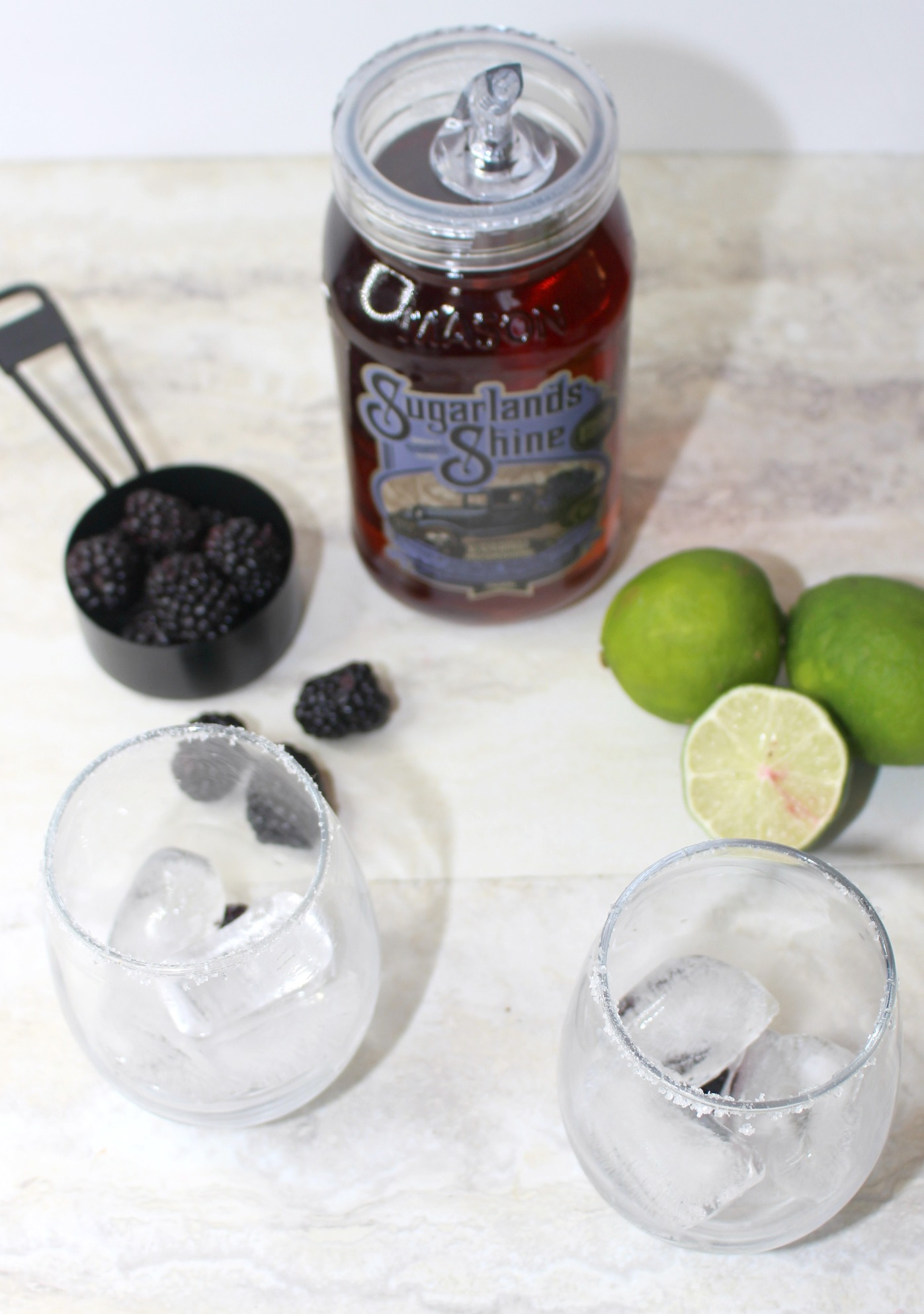 glasses and ingredients for margarita