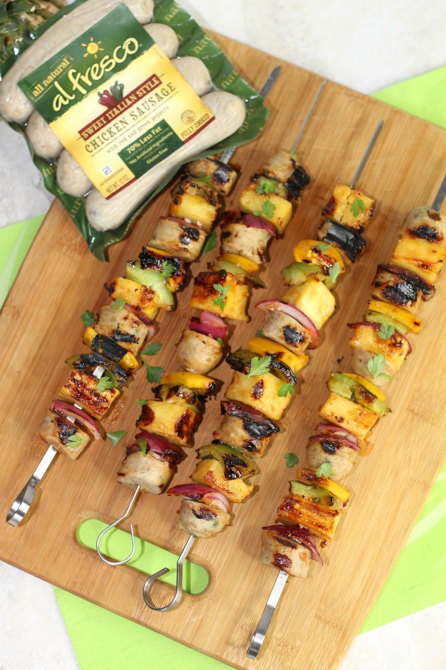 al fresco chicken sausage Grilled Hawaiian Chicken Sausage Kabobs