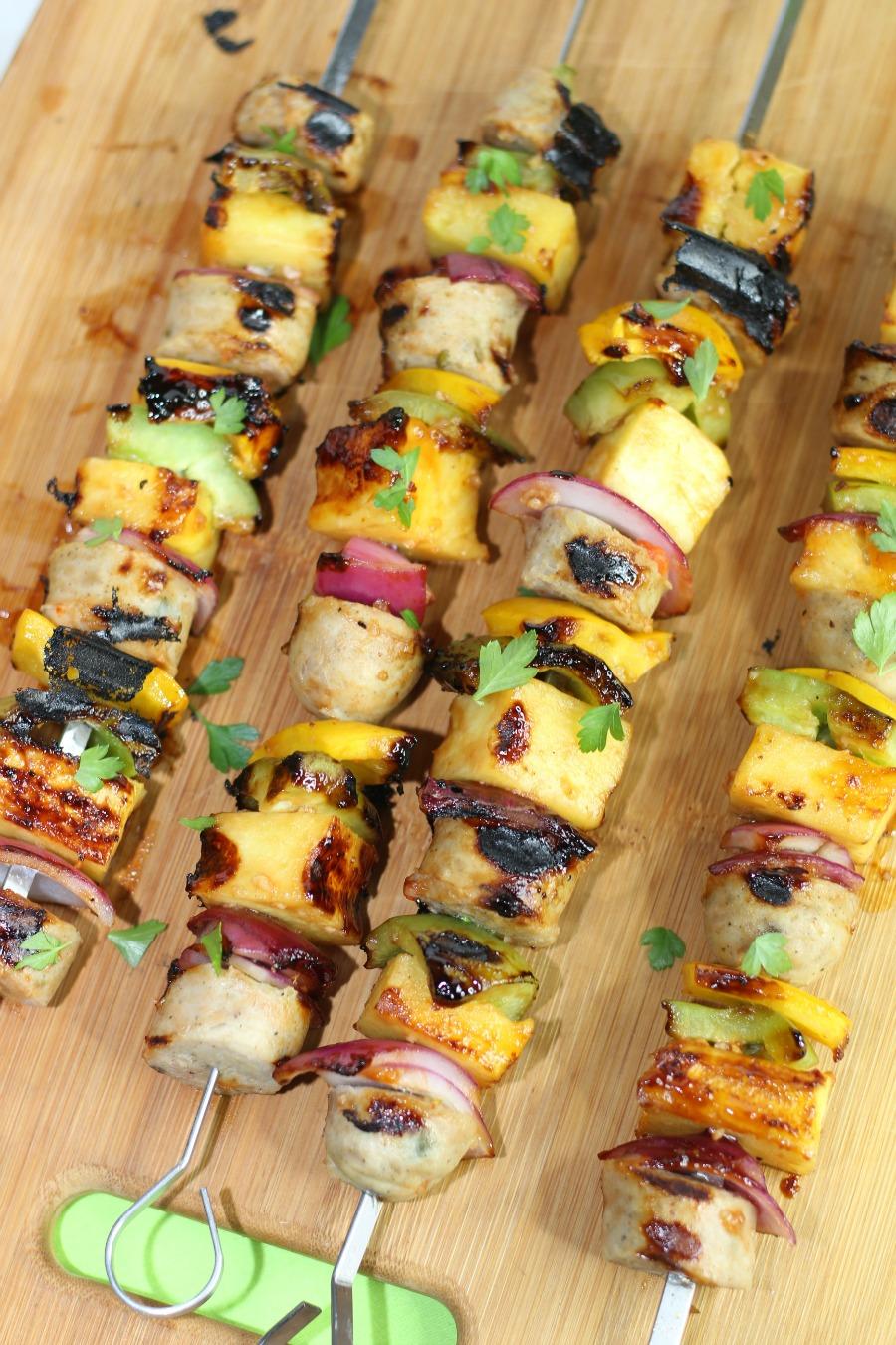 tray of Grilled Hawaiian Chicken Sausage Kabobs