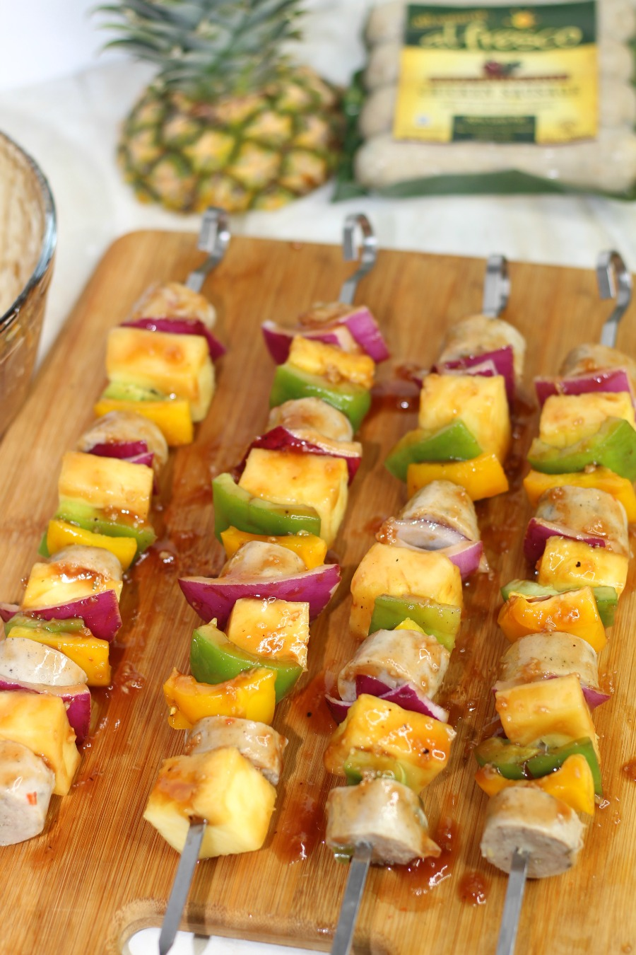 Hawaiian chicken sausage kabobs with marinade